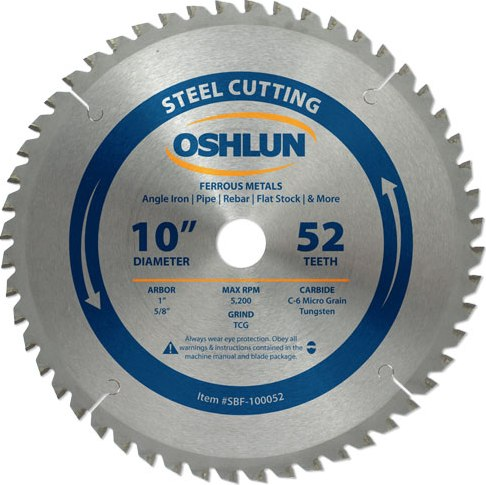 "OSHLUN SBF-100052 10"" 52T Steel Cut Carbide Blade"